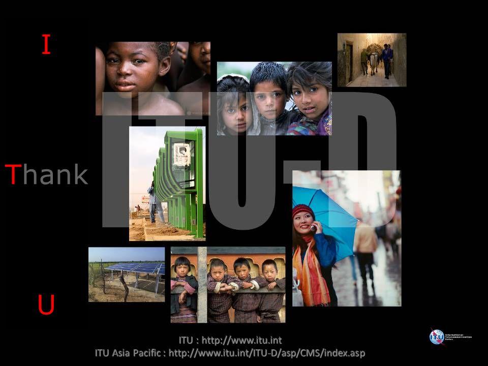 10 ITU : http://www.itu.int ITU Asia Pacific : http://www.itu.int/ITU-D/asp/CMS/index.asp I Thank U