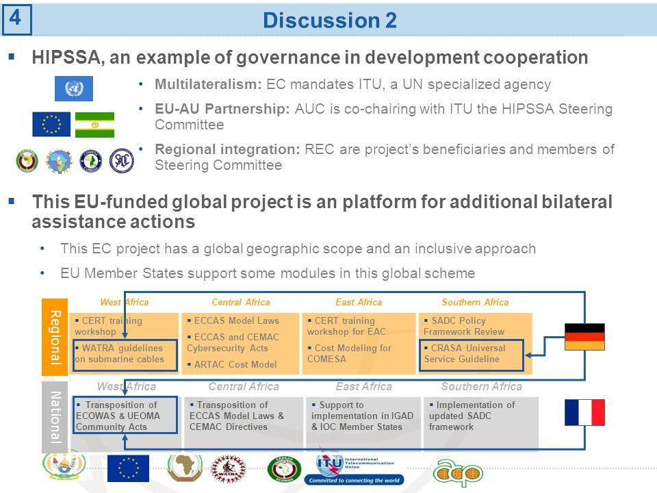International Telecommunication Union Discussion 2 HIPSSA, an example of governance in development cooperation Multilateralism: EC mandates ITU, a UN