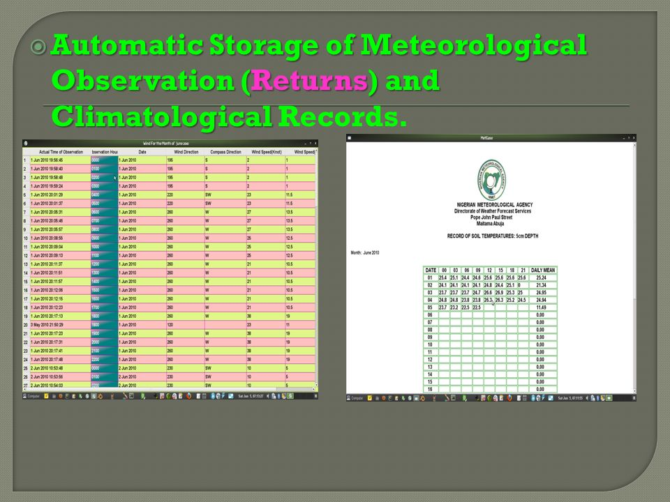 Archival and Retrieval of Meteorological and Climatological Data using standard Relational Database (include export of records to Spreadsheets and other standard file format for other usage this may be considered in the CLICOM Programme ).