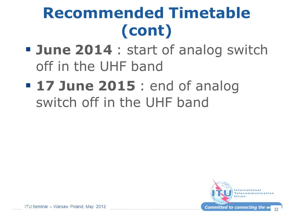 ITU Seminar – Warsaw Poland, May 2012 Recommended Timetable (cont) June 2014 : start of analog switch off in the UHF band 17 June 2015 : end of analog switch off in the UHF band 32