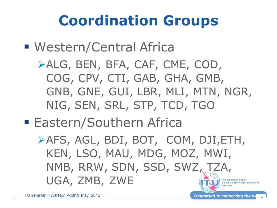ITU Seminar – Warsaw Poland, May 2012 Coordination Groups Western/Central Africa ALG, BEN, BFA, CAF, CME, COD, COG, CPV, CTI, GAB, GHA, GMB, GNB, GNE,