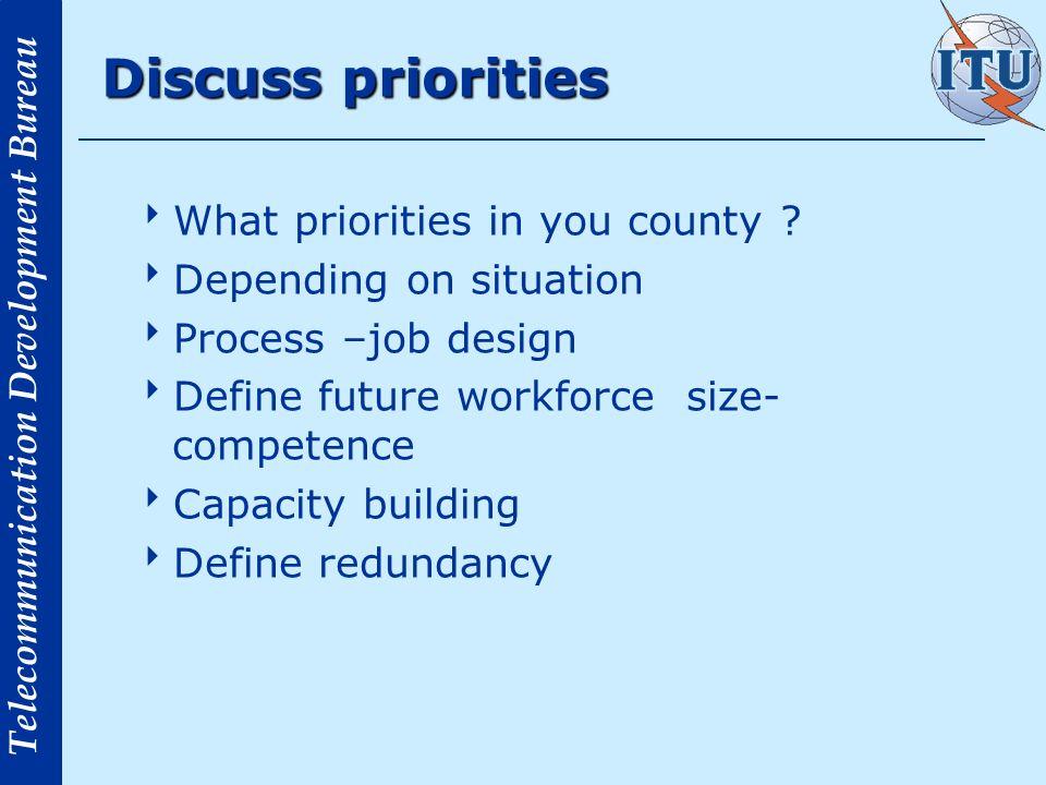 Telecommunication Development Bureau Discuss priorities What priorities in you county ? Depending on situation Process –job design Define future workf