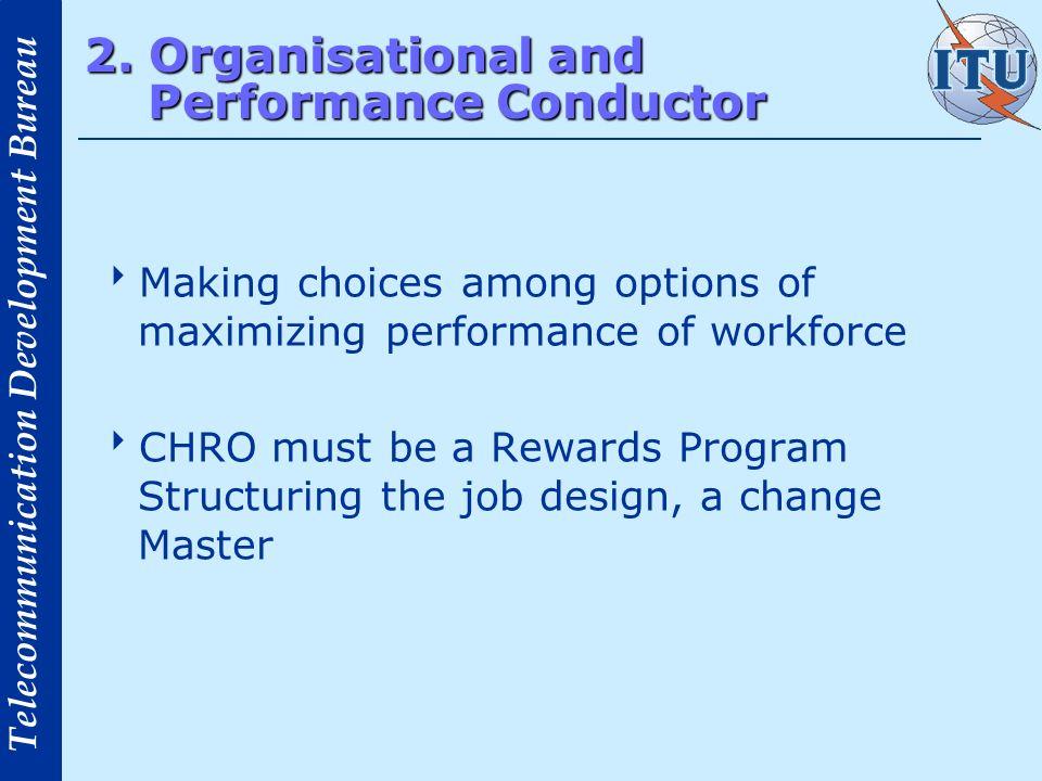 Telecommunication Development Bureau 2. Organisational and Performance Conductor Making choices among options of maximizing performance of workforce C