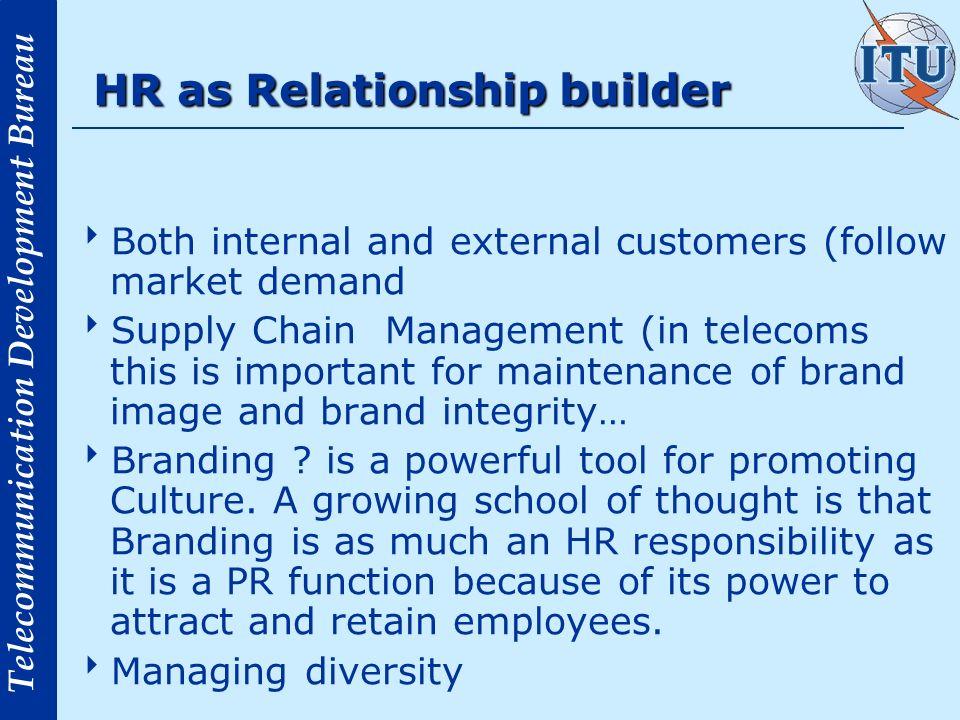Telecommunication Development Bureau HR as Relationship builder Both internal and external customers (follow market demand Supply Chain Management (in