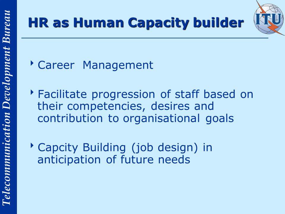 Telecommunication Development Bureau HR as Human Capacity builder Career Management Facilitate progression of staff based on their competencies, desir