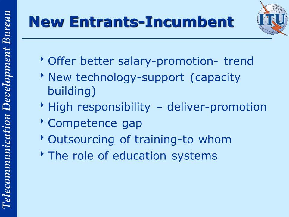 Telecommunication Development Bureau New Entrants-Incumbent Offer better salary-promotion- trend New technology-support (capacity building) High respo