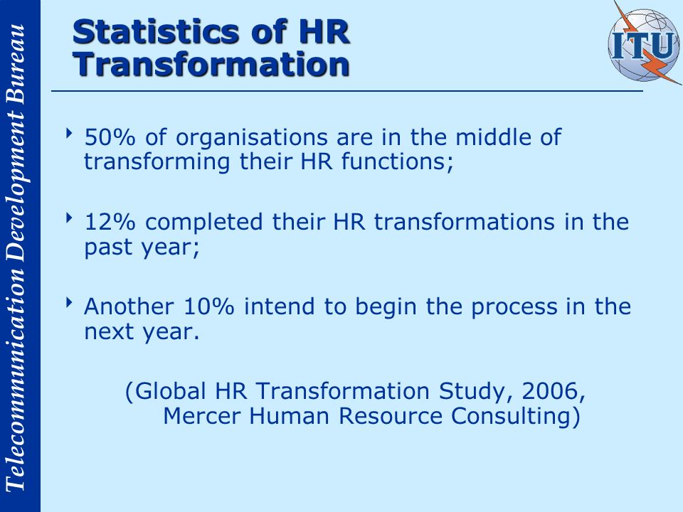 Telecommunication Development Bureau HR Transformation Process of Recreating the HR function so as to enhance HR contribution to the business It involves a shift from the internal operations (transactional, inward) activities to a more market perspective related performance.