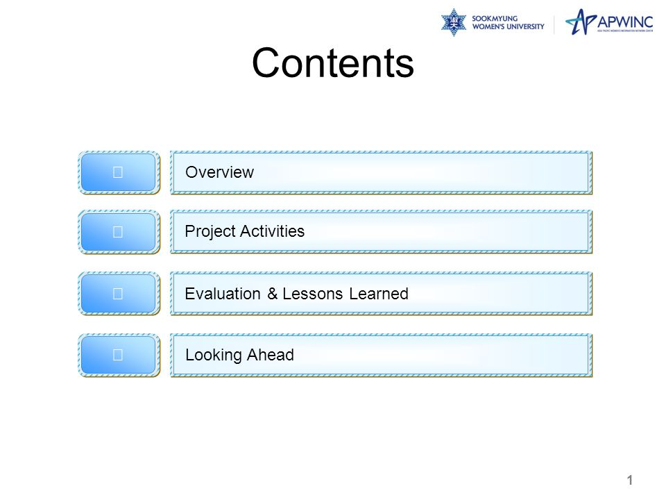 Contents Overview Looking Ahead Project Activities 1 Evaluation & Lessons Learned