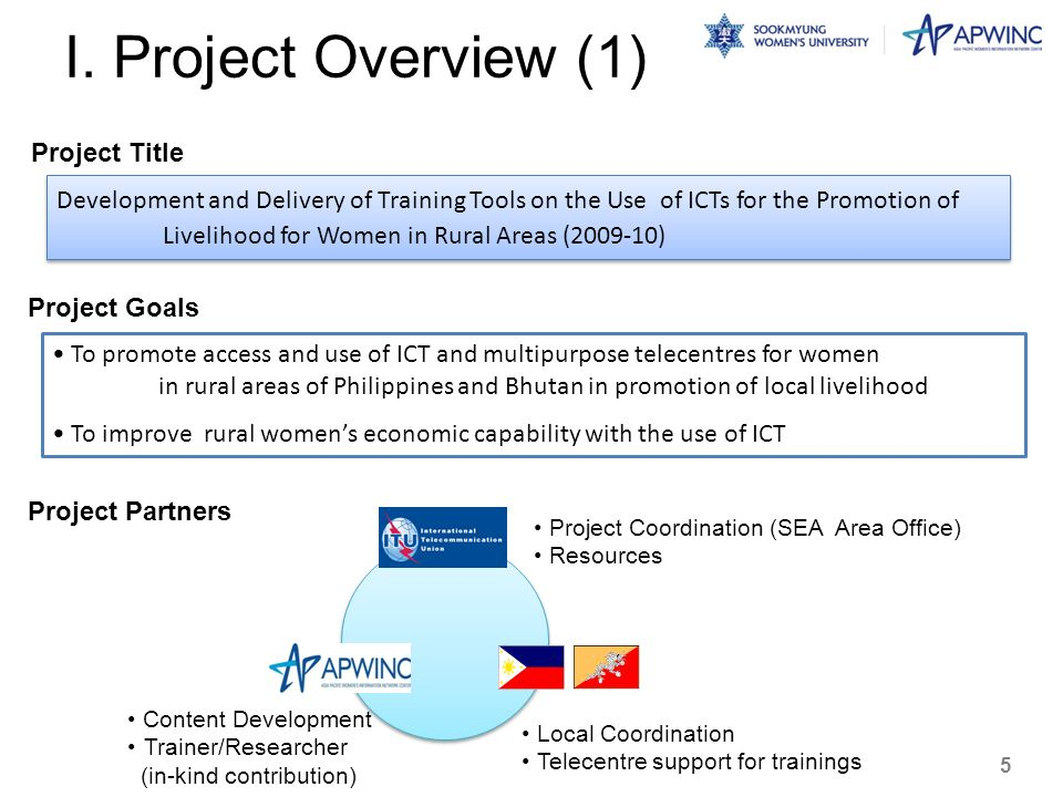 I. Project Overview (1) Development and Delivery of Training Tools on the Use of ICTs for the Promotion of Livelihood for Women in Rural Areas (2009-1