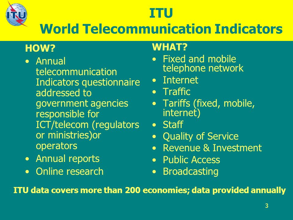 3 ITU World Telecommunication Indicators HOW.