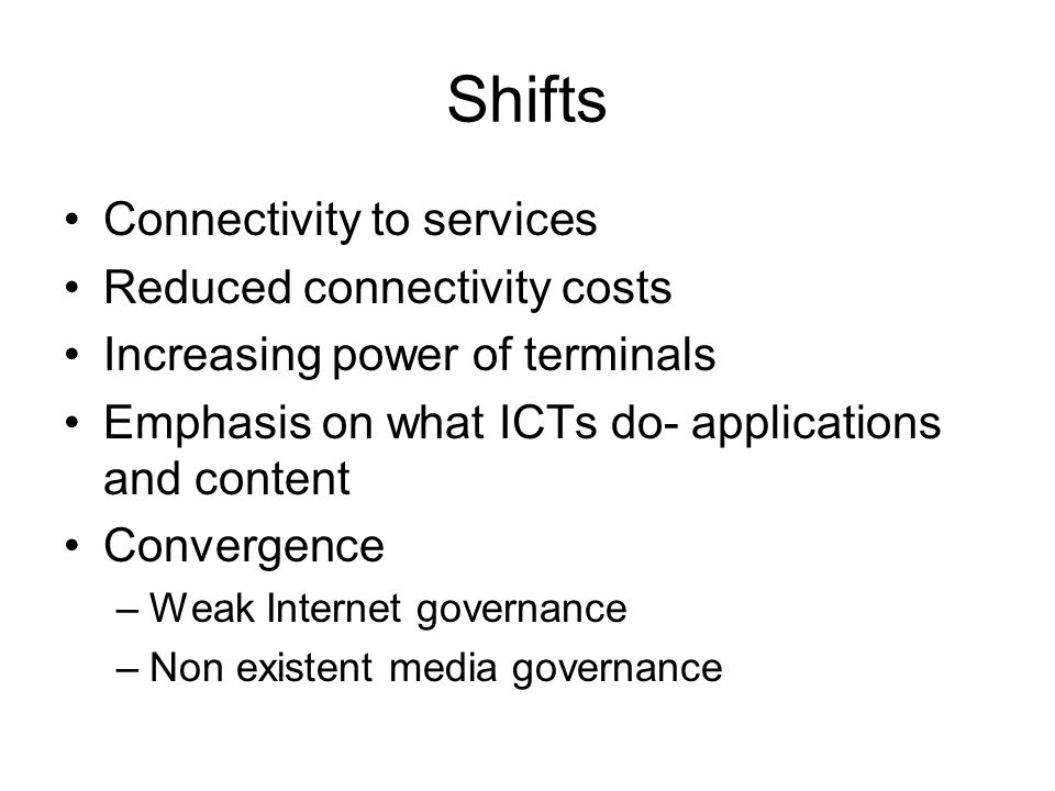 Shifts II Need for Regulation –Connectivity, USO, Interconnection, spectrum –content RIF Q1 2010 Emergence of new players –USP IT Center –ICB4PAC –PIRRC –UNDP/EU FI, OLPC, PRIDE II?
