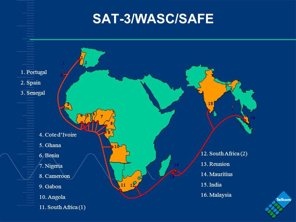 - COMPANY CONFIDENTIAL - SAT-3/WASC/SAFE 1 3 45 6 7 8 9 10 11 12 13 14 15 16 2 2 1 1. Portugal 2. Spain 3. Senegal 4. Cote dIvoire 5. Ghana 6. Benin 7