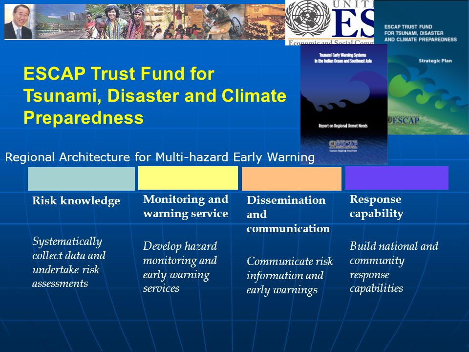 Risk knowledge Systematically collect data and undertake risk assessments Monitoring and warning service Develop hazard monitoring and early warning services Dissemination and communication Communicate risk information and early warnings Response capability Build national and community response capabilities ESCAP Trust Fund for Tsunami, Disaster and Climate Preparedness Regional Architecture for Multi-hazard Early Warning