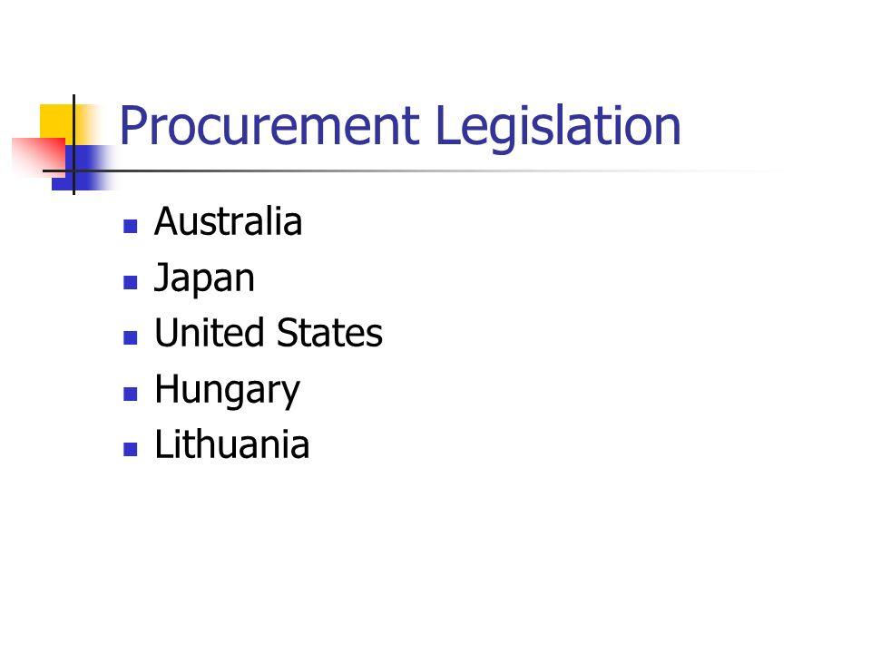Procurement Legislation Australia Japan United States Hungary Lithuania