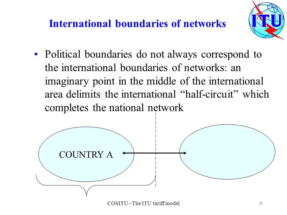 COSITU - The ITU tariff model 11 International boundaries of networks Political boundaries do not always correspond to the international boundaries of networks: an imaginary point in the middle of the international area delimits the international half-circuit which completes the national network COUNTRY A
