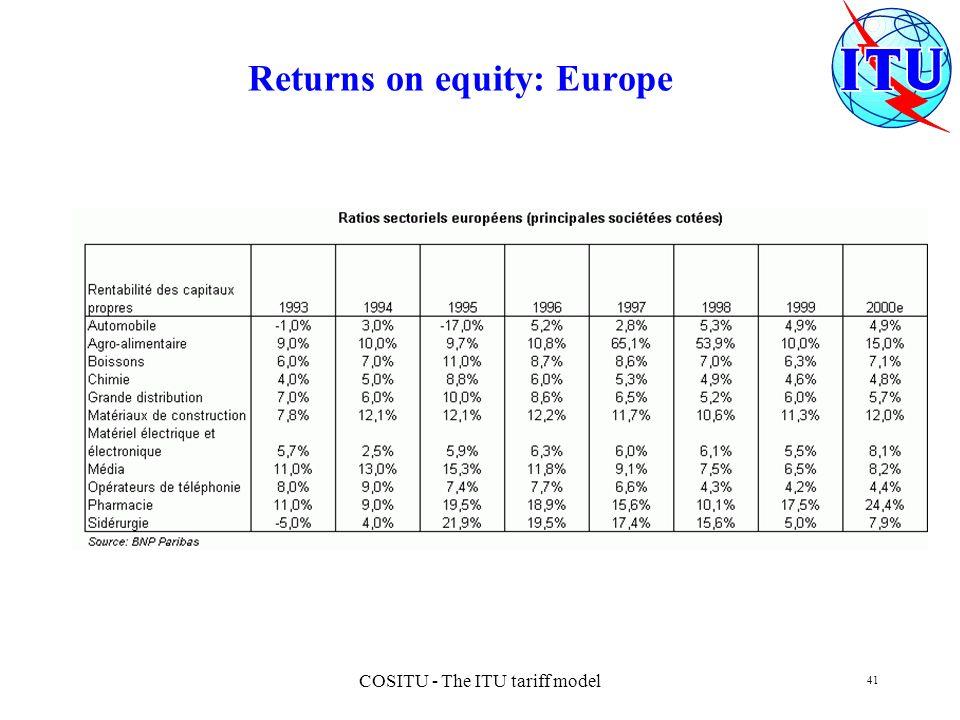 COSITU - The ITU tariff model 41 Returns on equity: Europe
