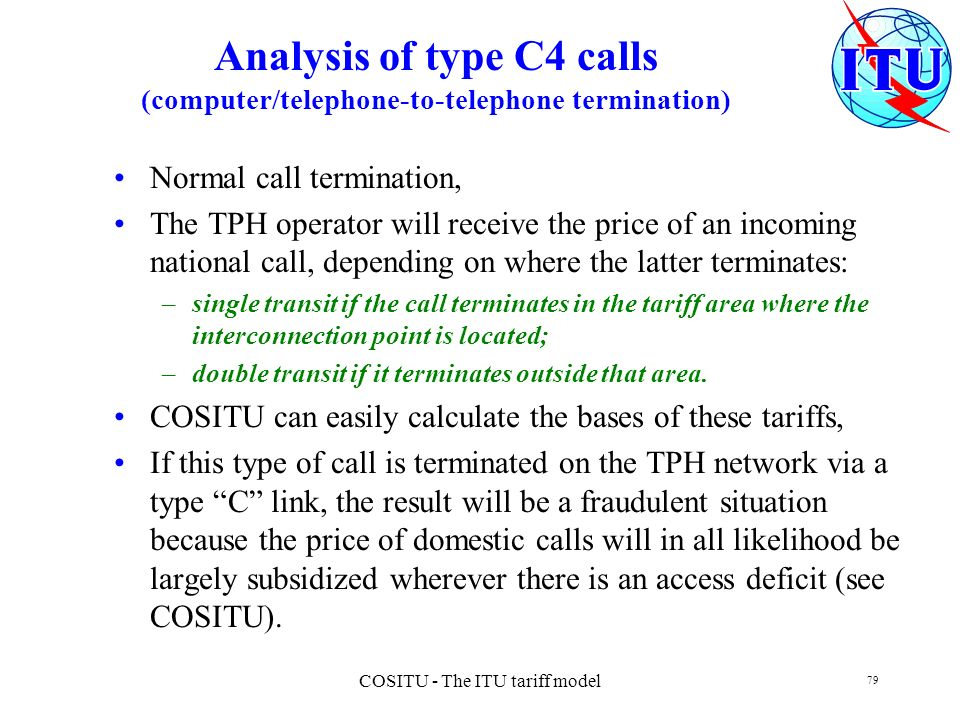 COSITU - The ITU tariff model 79 Analysis of type C4 calls (computer/telephone-to-telephone termination) Normal call termination, The TPH operator wil