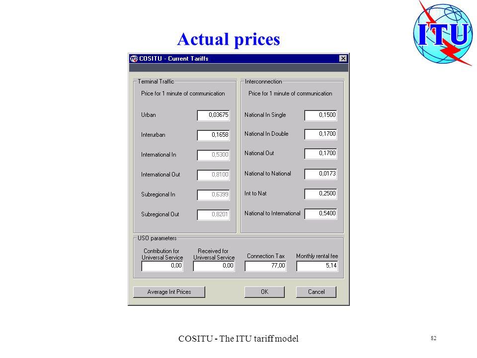 COSITU - The ITU tariff model 82 Actual prices
