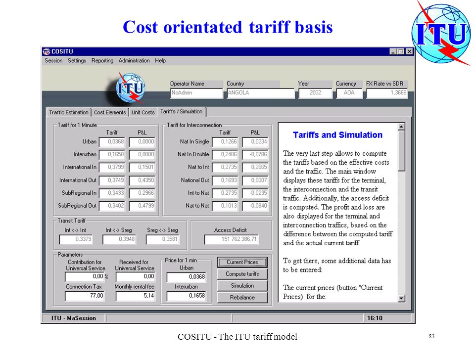 COSITU - The ITU tariff model 83 Cost orientated tariff basis