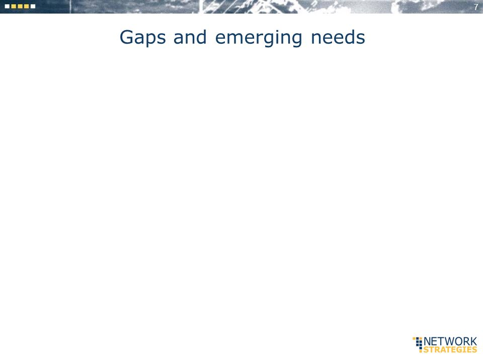 7 Gaps and emerging needs