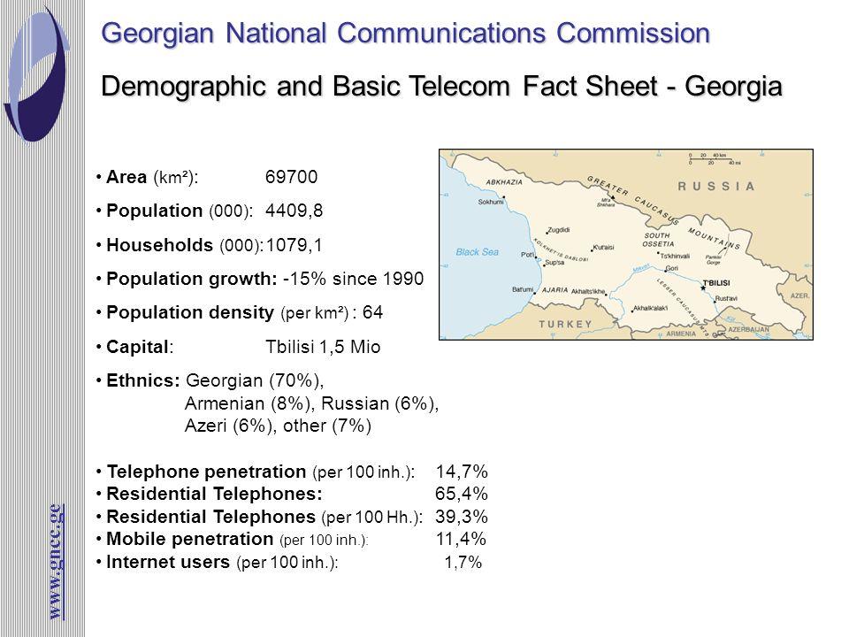 www.gncc.ge Demographic and Basic Telecom Fact Sheet - Georgia Georgian National Communications Commission Area ( km² ):69700 Population (000) : 4409,
