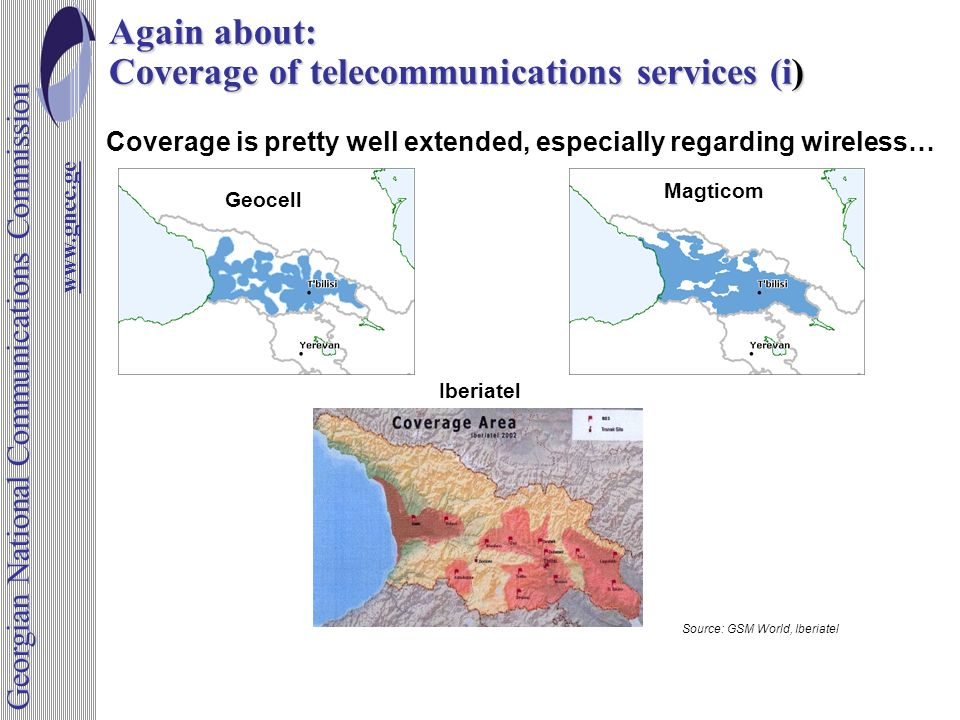 Again about: Coverage of telecommunications services (i) Coverage is pretty well extended, especially regarding wireless… Source: GSM World, Iberiatel Geocell Magticom Iberiatel www.gncc.ge Georgian National Communications Commission