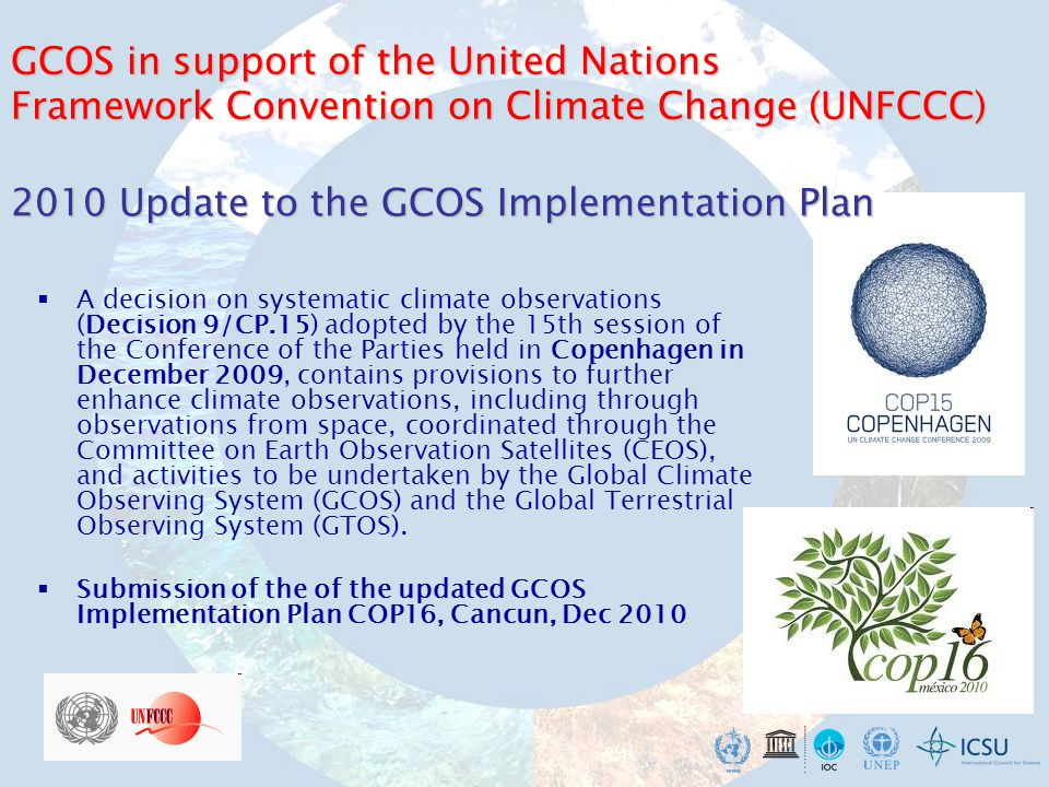 GCOS – 2011 Update to the Satellite Supplement Expert Meeting, January 10–12, 2011, Geneva Outcome: - improvements on most of the ECVs - extra sections, e.g., on GHGs, precursors, for example « pressure » emerges now also as space- based observed ECV.