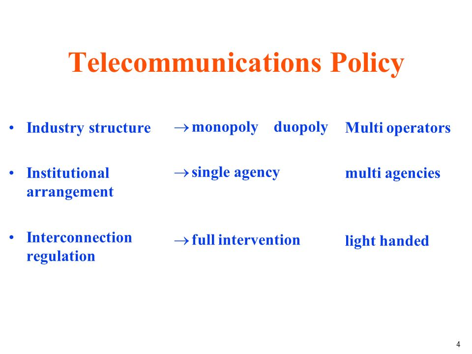 4 Telecommunications Policy Industry structure Institutional arrangement Interconnection regulation monopoly duopoly single agency full intervention Multi operators multi agencies light handed