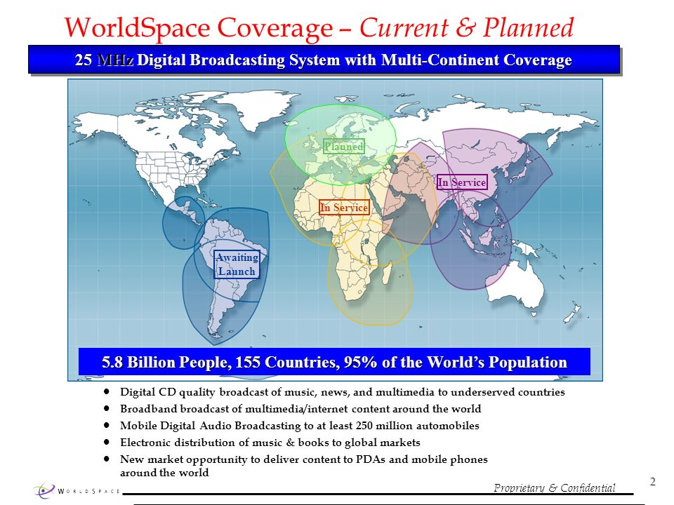 Proprietary & Confidential 2 WorldSpace Coverage – Current & Planned 25 MHz Digital Broadcasting System with Multi-Continent Coverage Digital CD quality broadcast of music, news, and multimedia to underserved countries Broadband broadcast of multimedia/internet content around the world Mobile Digital Audio Broadcasting to at least 250 million automobiles Electronic distribution of music & books to global markets New market opportunity to deliver content to PDAs and mobile phones around the world In Service Awaiting Launch Planned In Service 5.8 Billion People, 155 Countries, 95% of the Worlds Population