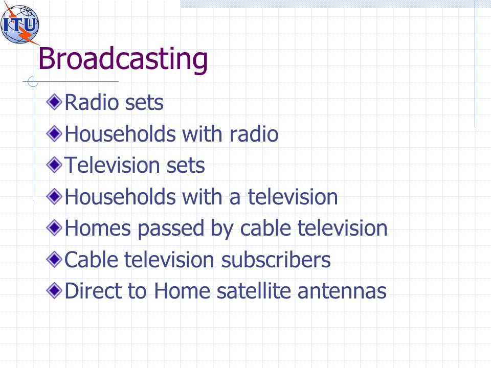 Broadcasting Radio sets Households with radio Television sets Households with a television Homes passed by cable television Cable television subscribers Direct to Home satellite antennas