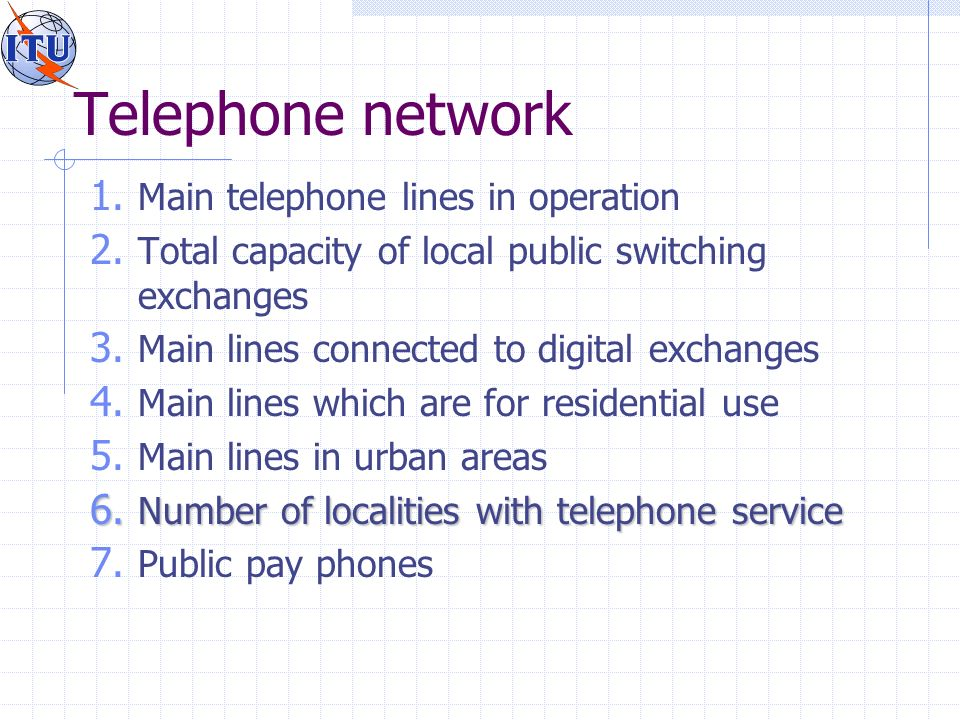 Telephone network 1. Main telephone lines in operation 2.