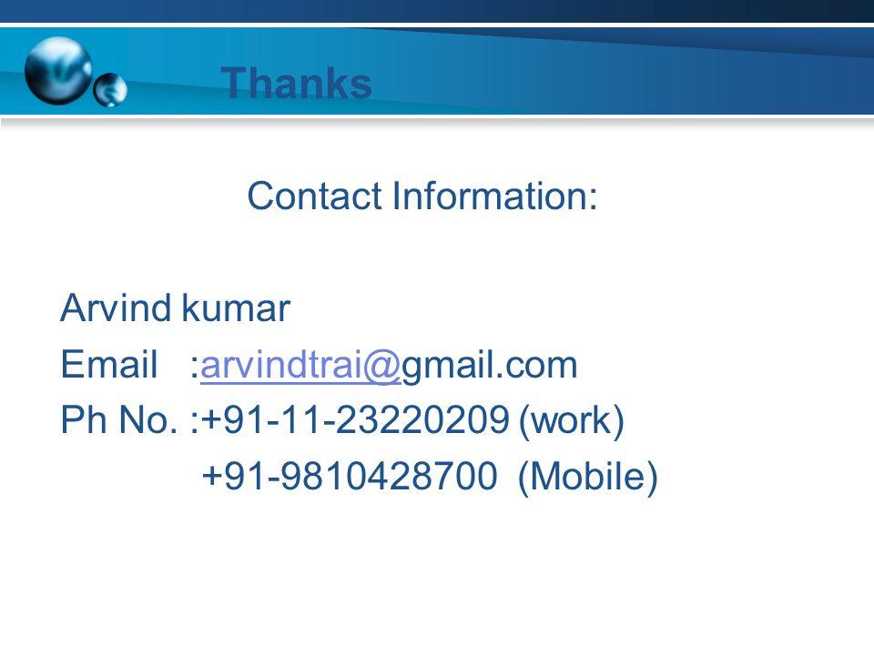 Contact Information: Arvind kumar Email :arvindtrai@gmail.comarvindtrai@ Ph No.