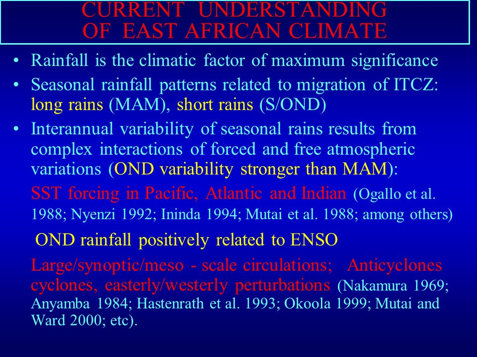 ROLE OF THE INDIAN AND ATLANTIC OCEANS ON THE CLIMATE VARIABILITY OF EASTERN AFRICA Charles C.