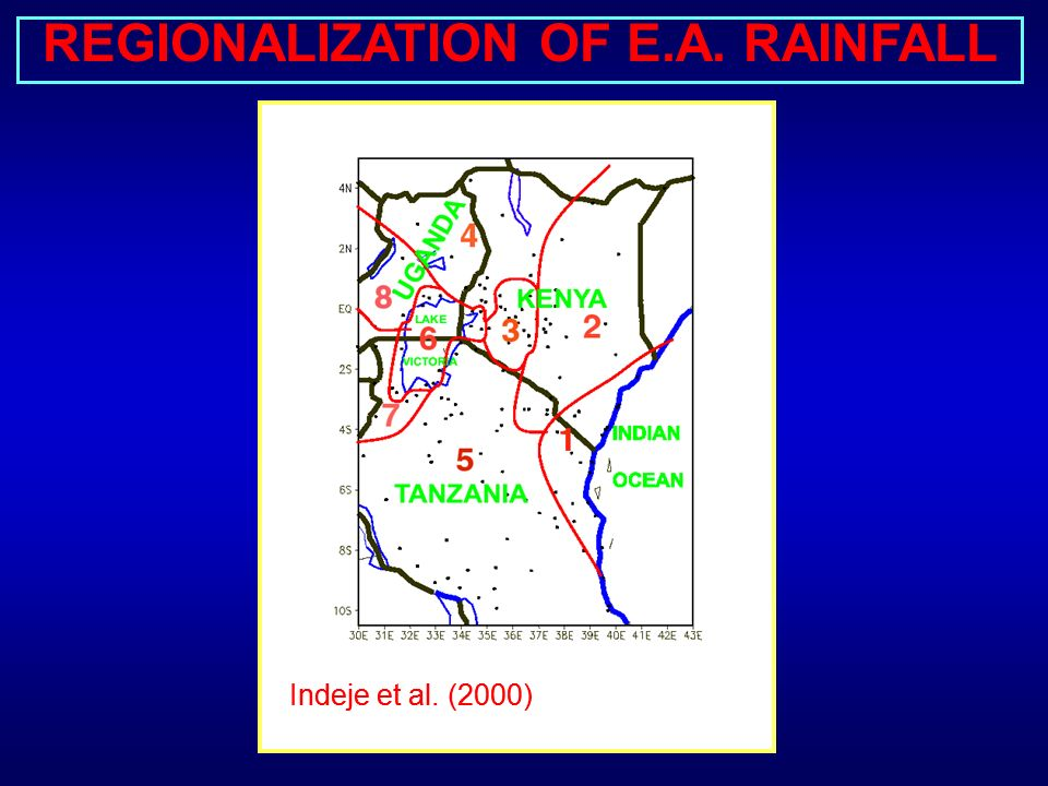 MEAN MONTHLY RAINFALL (mm) OVER EAST AFRICA, 1931-1985 Long Rains Short Rains 0-2525-5050-100100-200> 200 mm Nyenzi (1992)