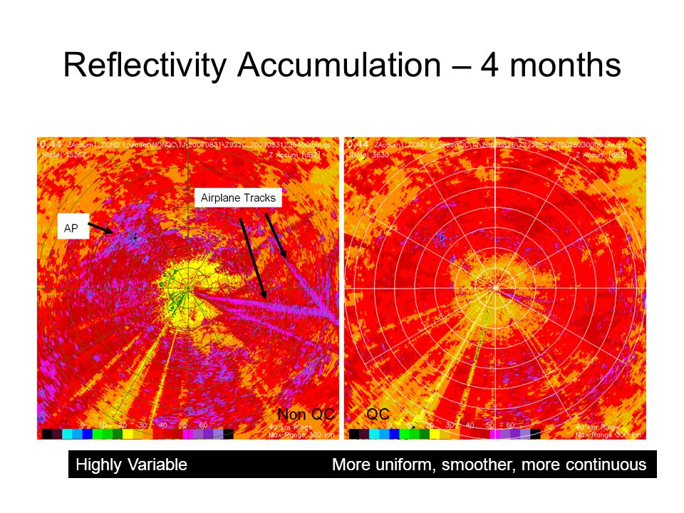 Reflectivity Accumulation – 4 months Highly Variable More uniform, smoother, more continuous