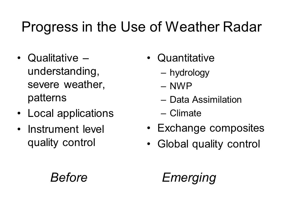 Progress in the Use of Weather Radar Qualitative – understanding, severe weather, patterns Local applications Instrument level quality control Quantitative –hydrology –NWP –Data Assimilation –Climate Exchange composites Global quality control Before Emerging