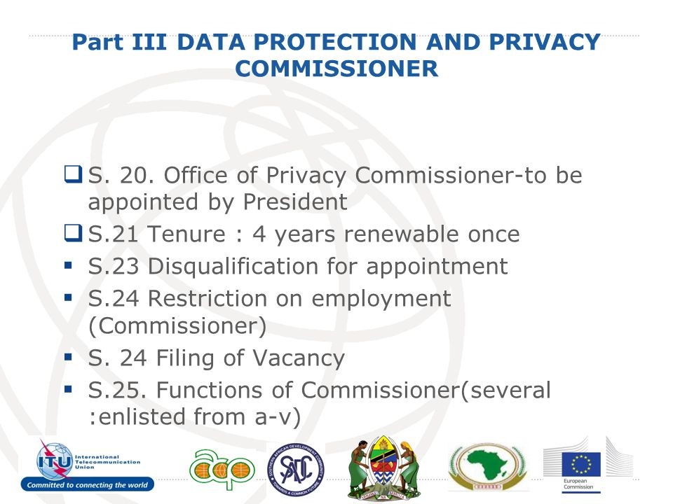 Part III DATA PROTECTION AND PRIVACY COMMISSIONER S.