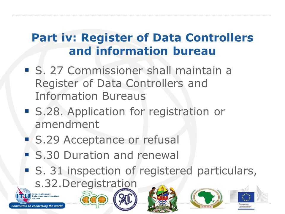 Part iv: Register of Data Controllers and information bureau S.