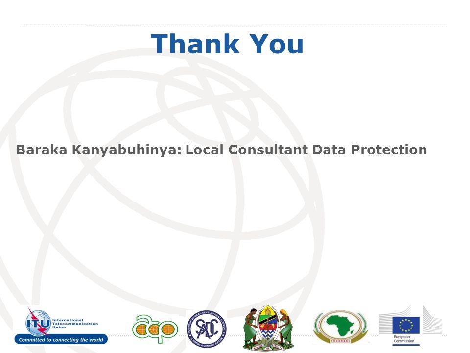 Thank You Baraka Kanyabuhinya: Local Consultant Data Protection