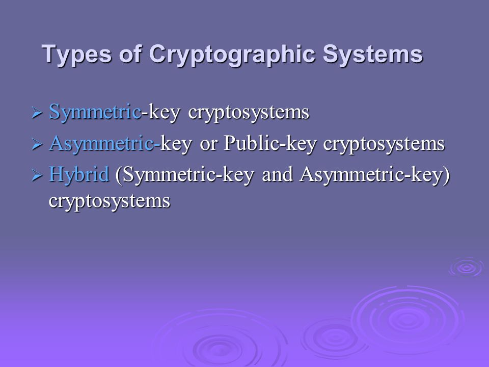 Types of Cryptographic Systems Symmetric-key cryptosystems Symmetric-key cryptosystems Asymmetric-key or Public-key cryptosystems Asymmetric-key or Pu
