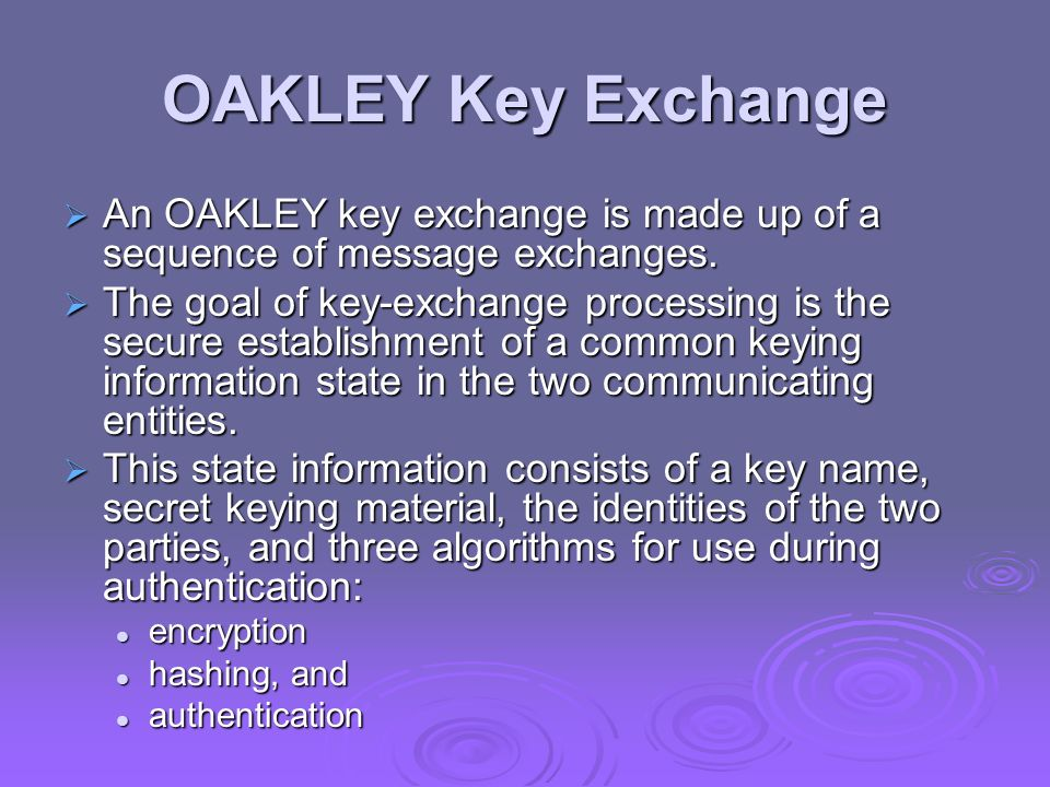OAKLEY Key Exchange An OAKLEY key exchange is made up of a sequence of message exchanges. An OAKLEY key exchange is made up of a sequence of message e