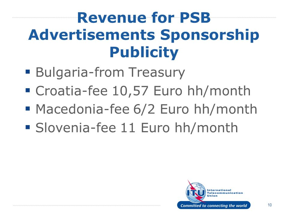 10 Revenue for PSB Advertisements Sponsorship Publicity Bulgaria-from Treasury Croatia-fee 10,57 Euro hh/month Macedonia-fee 6/2 Euro hh/month Slovenia-fee 11 Euro hh/month