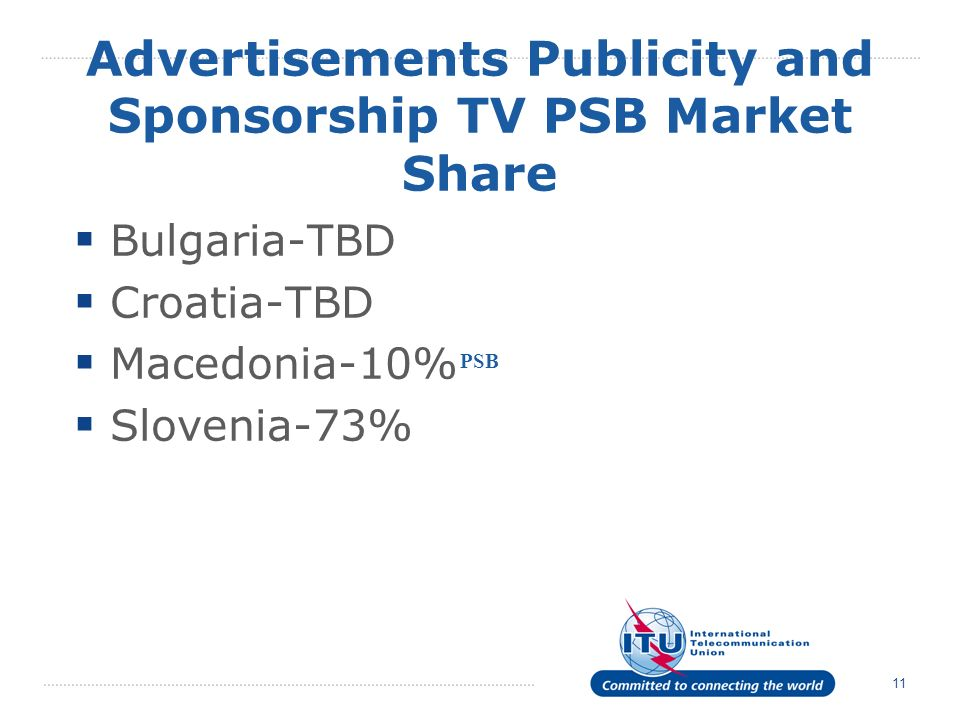 11 Advertisements Publicity and Sponsorship TV PSB Market Share Bulgaria-TBD Croatia-TBD Macedonia-10% Slovenia-73% PSB