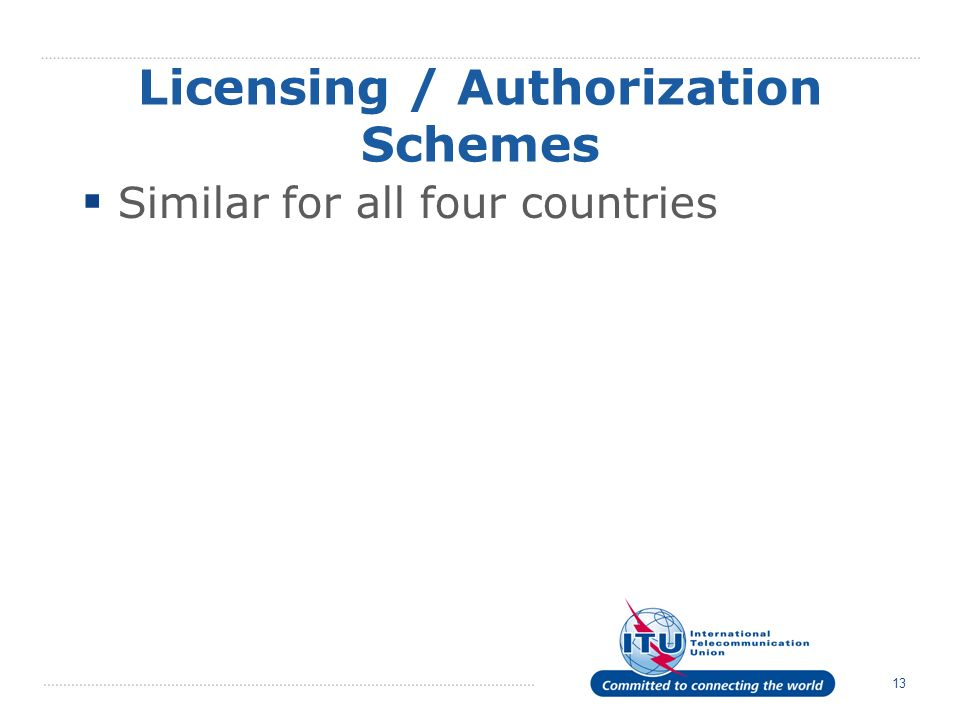 13 Licensing / Authorization Schemes Similar for all four countries