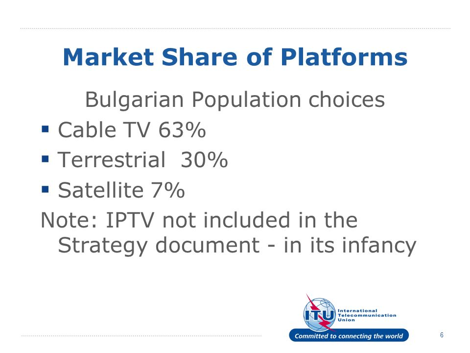 6 Market Share of Platforms Bulgarian Population choices Cable TV 63% Terrestrial 30% Satellite 7% Note: IPTV not included in the Strategy document - in its infancy