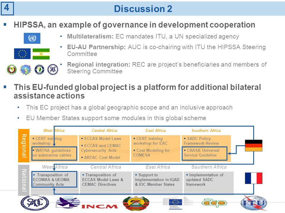 Discussion 2 HIPSSA, an example of governance in development cooperation Multilateralism: EC mandates ITU, a UN specialized agency EU-AU Partnership: