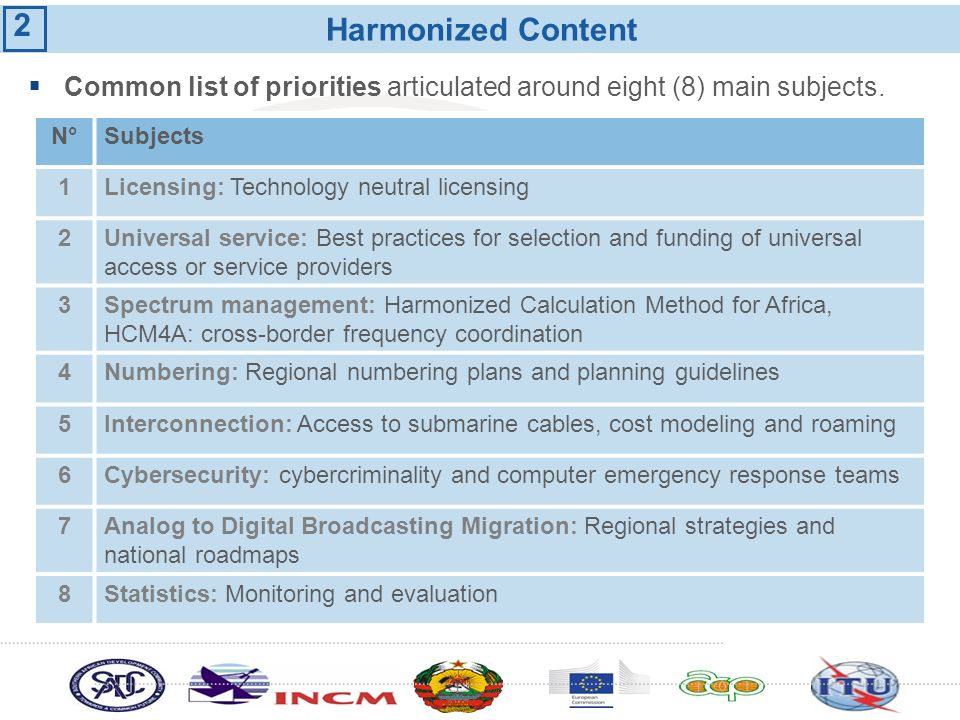 Harmonized Content N°N°Subjects 1Licensing: Technology neutral licensing 2Universal service: Best practices for selection and funding of universal acc