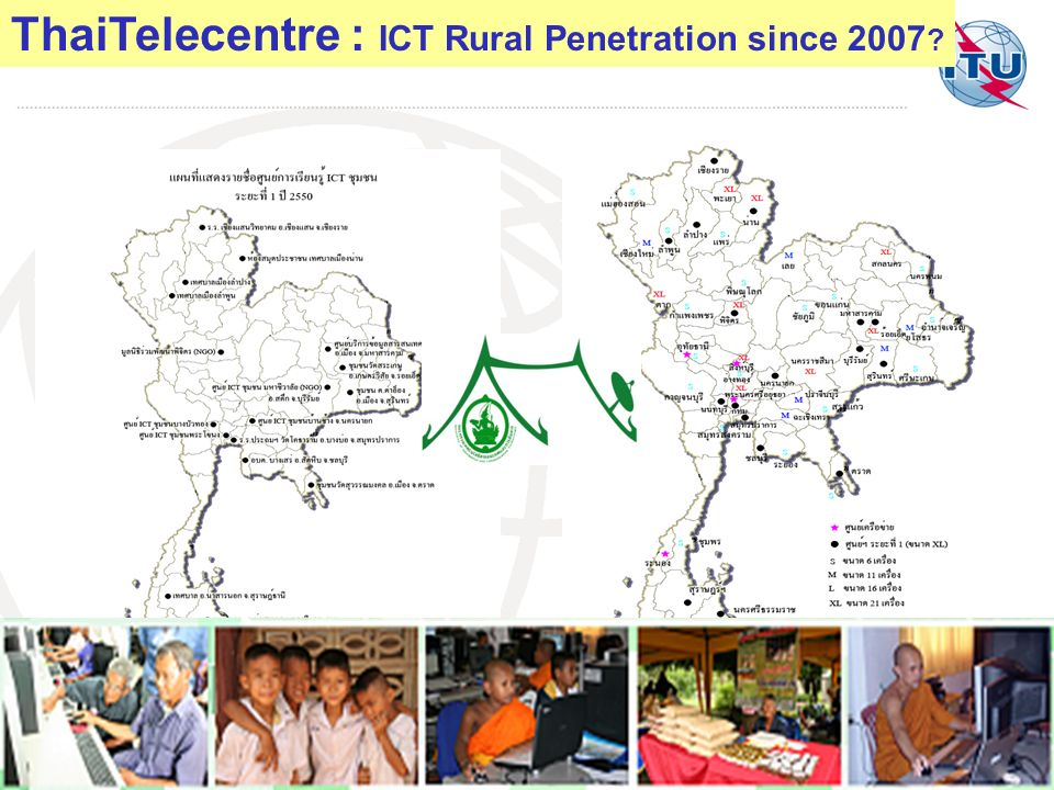 2007=20,2008 = 40,2009 =117,2010=600, 2010=1,000 – 1,879 Centres Currently ThaiTelecentre : ICT Rural Penetration since 2007