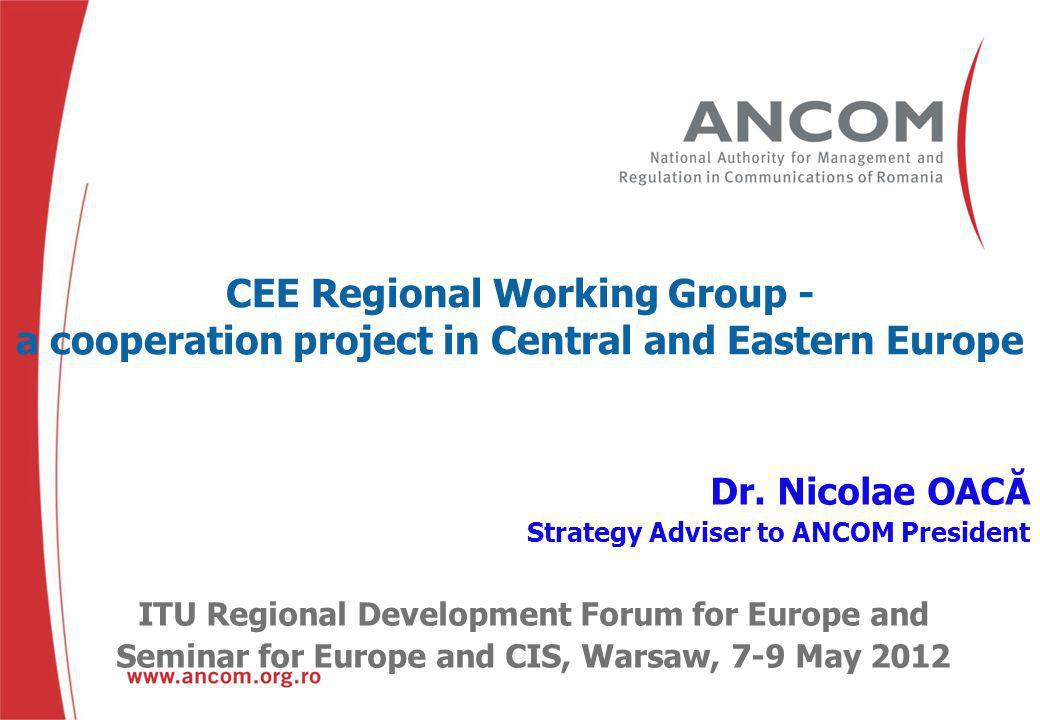 CEE Regional Working Group - a cooperation project in Central and Eastern Europe 1.