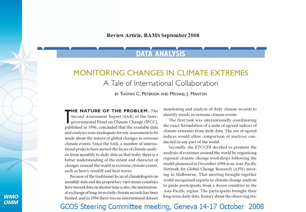 Review Article, BAMS September 2008 GCOS Steering Committee meeting, Geneva 14-17 October 2008